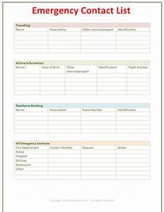 7 Best Images of Printable Employee Emergency Contact List