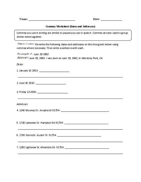dates and addresses commas worksheet englishlinx