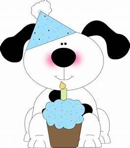 Cute Birthday Dog with a Cupcake Clip Art - Cute Birthday ...