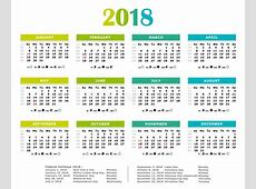 2018 Fresh Colors Yearly Calendar Stock Vector