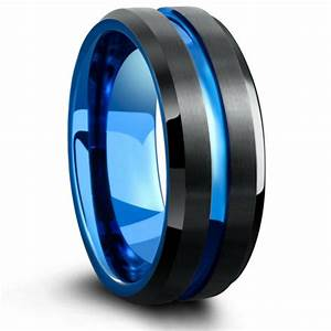 Mens Tungsten Wedding Band With Carved Blue Channel