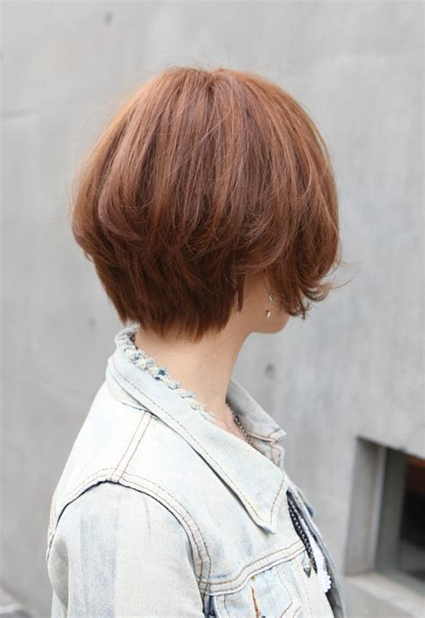 trendy short copper haircut  japan stacked short