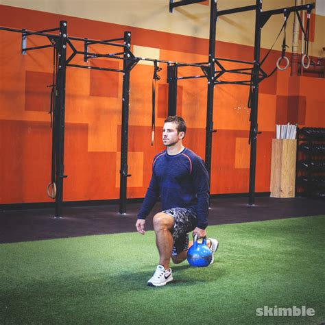 kettlebell lunges right reverse lunge row upright exercise squat skimble workout side exercises kettlebells left trainer muscle primary