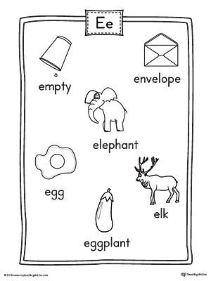 short letter  word list  illustrations printable
