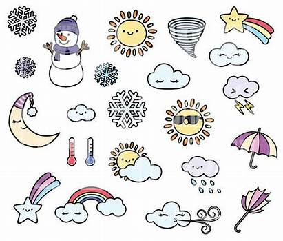 Weather Doodle Clipart Kawaii Doddle Easy Personal