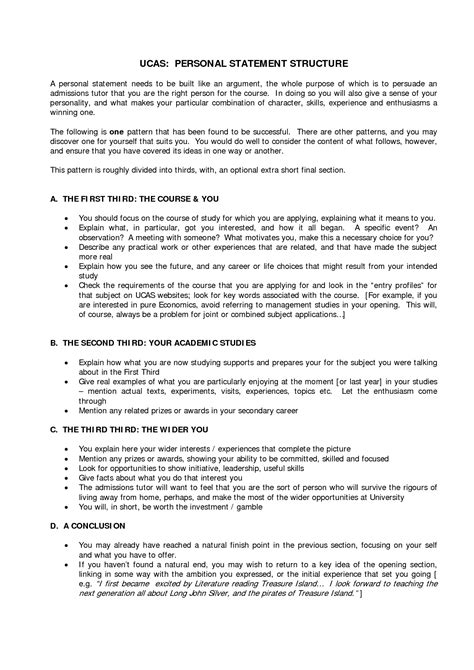 Personal Statement Template Personal Statement Template Ucas Search
