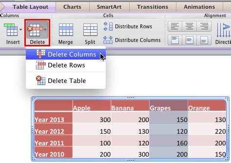 Table Within A Table by Add And Remove Table Rows Columns In Powerpoint 2011 For