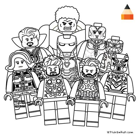 coloring page for kids how to draw lego avengers