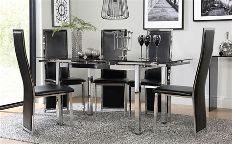 space chrome  black glass extending dining table