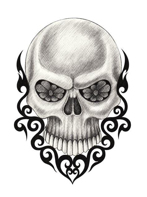 Art Skull Surreal Tattoo Stock Illustration Image