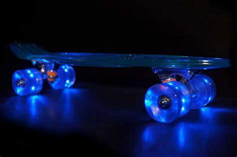 light up skateboard wheels self illuminating transparent cruisers by sunset skateboards