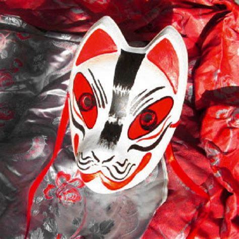 full face hand painted japanese fox mask red black pattern