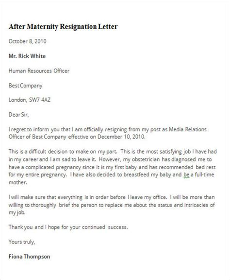 sample maternity resignation letters  word