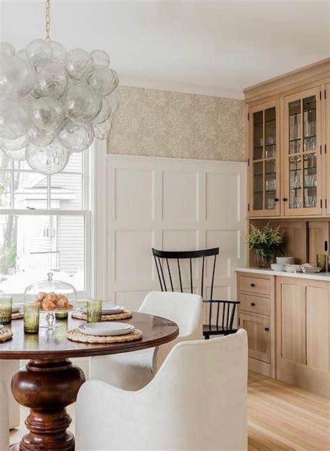 high paneling  wallpaper  dining room