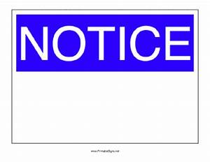Printable Notice Sign