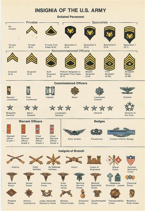 Rank Charts, Plates, & Posters Of Yesteryear  Army And