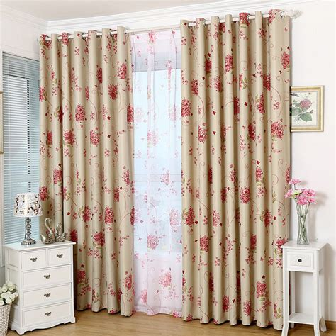 print flower pattern blackout curtains two panels