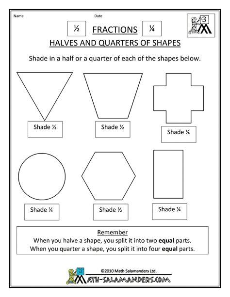 half and quarter fraction worksheets halves and quarters of shapes homeschooling