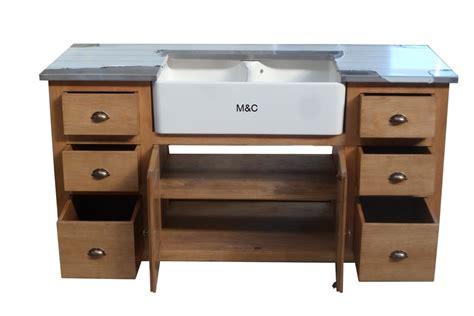 mobilier de cuisine en bois massif meuble evier de cuisine 2 bacs en bois