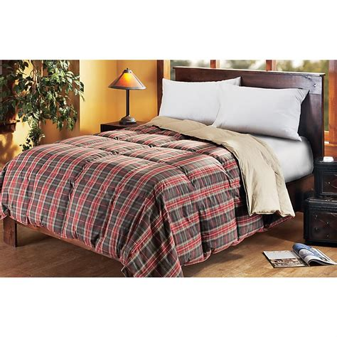 plaid comforter reversible goose down comforter red plaid solid khaki 124179 comforters at sportsman s guide