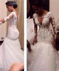 custom made white long sleeve mermaid wedding dress 2017