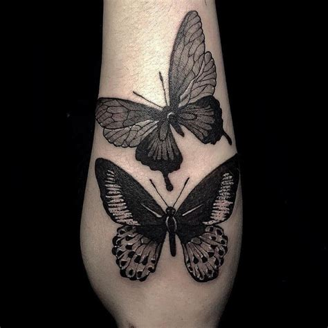 black work butterfly tattoo   forearm butterfly