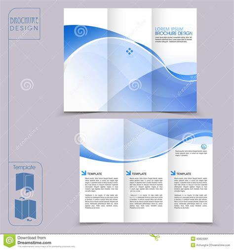 tri fold blue template  business advertising brochure