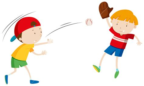 Two Boys Throwing And Catching Ball Illustration Royalty