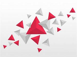 Abstract triangles elements in red and grey colors, Flying ...