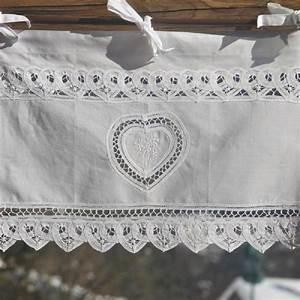 Rideau Brise Bise Lin Dentelle : rideau brise bise coton blanc lac 1 coeur et fleurs de montagne ~ Teatrodelosmanantiales.com Idées de Décoration