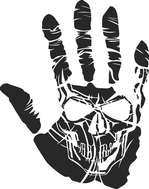 sticker skull hand tattoo  vector cdr  axisco