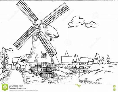 Mill Coloring Dutch Landscape Pages Drawn Hand