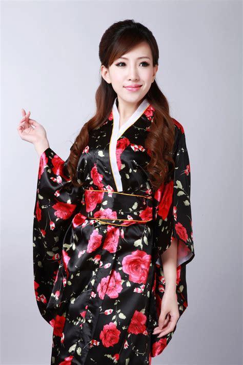 Silk Japanese Kimono Dress Vintage Female Kimono Stage Dance Dress Japanese Traditional Costume ...