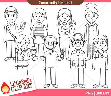 11418 community helpers clipart black and white free helper clipart 43