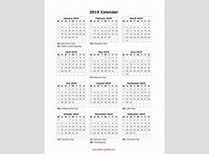 Download Blank Calendar 2019 with US Holidays 12 months