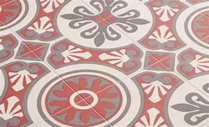 Sol Pvc Carreau De Ciment : sol vinyle emotion carreau ciment rouge et gris rouleau 4 m saint maclou maison idee deco ~ Nature-et-papiers.com Idées de Décoration