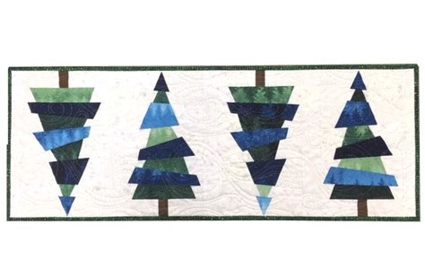 crazy christmas trees table runner kit blue