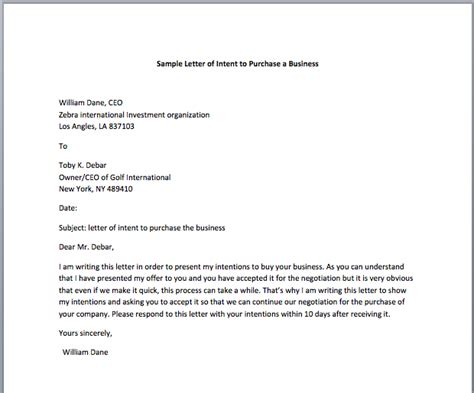 sample letter  intent  purchase  business smart letters