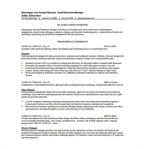 Company Resume Template by Business Resume Template 11 Free Word Excel Pdf