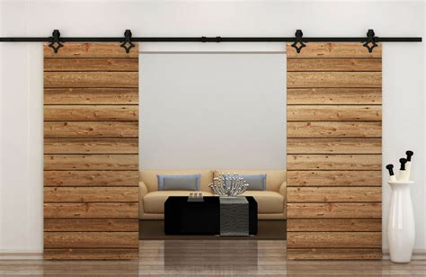 ft country style black barn wood steel double sliding