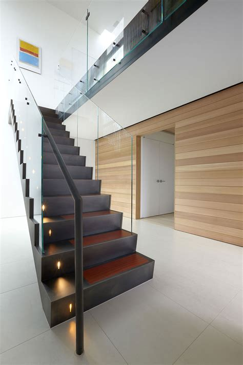 modern glass stairs beach walk house fire island