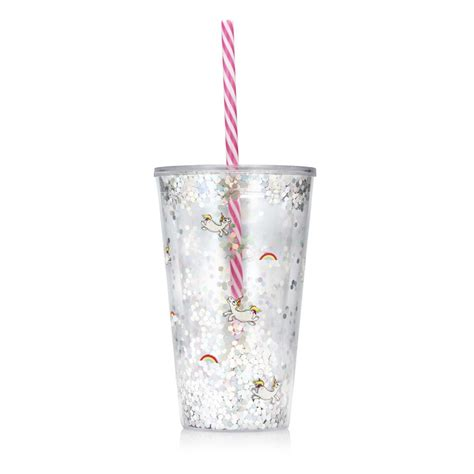verre licorne paillete avec couvercle  paille rigide sur