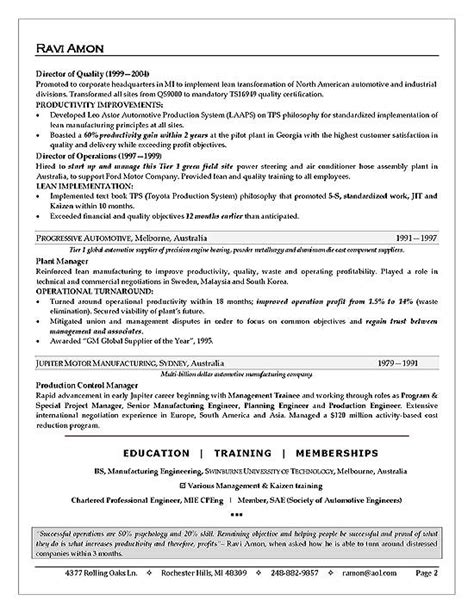 business operations executive resume exle
