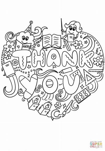 Thank Coloring Teacher Pages Doodle Printable Miss