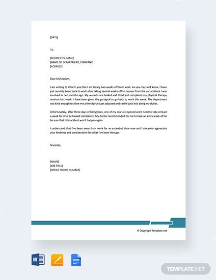formal excuse letter  work template word