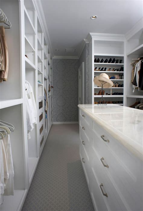 Gray Wardrobe Closet by Wallpaper In Closet Transitional Closet East End