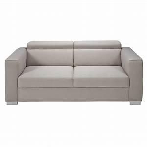 canape avec tetieres 3 places en tissu beige grise jazz With canape 3 places avec tetieres