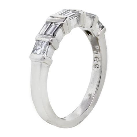 platinum princess cut baguette diamond wedding band ring