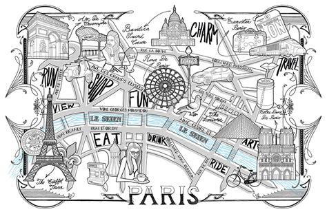 paris detailed map drawing illustration jitesh patel