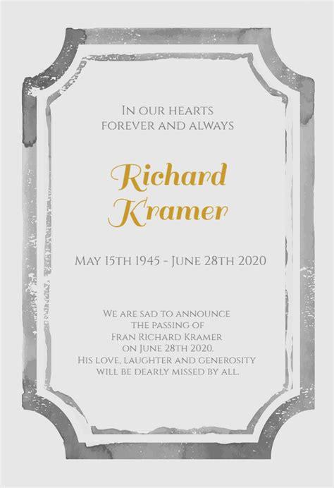 watercolor frame memorial card template